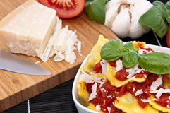 Portion of Raviolis in a bowl Royalty Free Stock Images