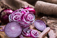 Portion of Red Onion rings Royalty Free Stock Photo