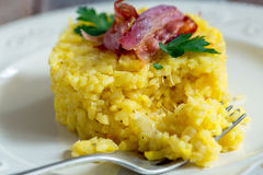 Portion of risotto with bacon and parsley. Royalty Free Stock Photos
