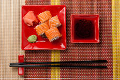 Portion of rolls with soy sauce Stock Photos