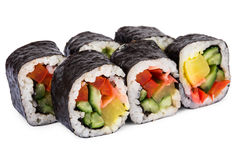 Portion of rolls with vegetables Stock Photo
