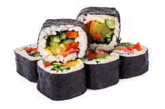 Portion of rolls with vegetables Stock Image