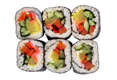 Portion of rolls with vegetables Stock Images