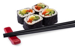 Portion of rolls with vegetables and sticks Royalty Free Stock Images