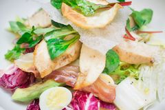 Portion of salad with grilled chicken, bacon, vegetable leaves. And quail egg royalty free stock images