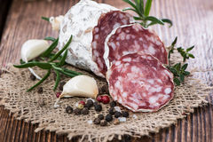 Portion of Salami Royalty Free Stock Photography