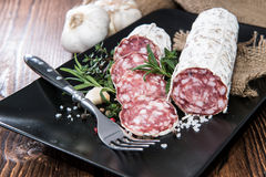 Portion of Salami Royalty Free Stock Images