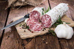 Portion of Salami Slices Royalty Free Stock Photo