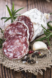 Portion of Salami Slices Royalty Free Stock Photography