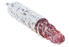 Portion of Salami on white Stock Images
