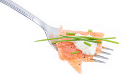 Portion of Salmon on a fork (white) Royalty Free Stock Photography
