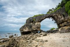 A portion of sea arch Neil island, Andaman and Nicobar, India. Natural bridge, the main attraction of the island royalty free stock image