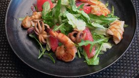 Portion of seafood salad on a dark plate. In the restaurant stock video