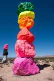 Portion of Seven Magic Mountains outdoor art display Stock Photos
