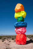 Portion of Seven Magic Mountains outdoor art display Royalty Free Stock Photography