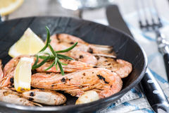 Portion of Shrimps in a pan Royalty Free Stock Photography