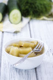 Portion of sliced Cucumber (pickled) Stock Photos