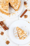 Portion of sliced easter carrot sponge cake Royalty Free Stock Photography