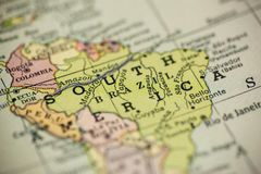 South America on Map. A portion of South America is seen on a vintage map royalty free stock image