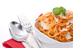 Portion of Spaghetti in a bowl Stock Images