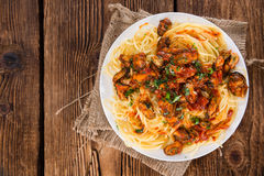 Portion of Spaghetti with Mussels Stock Image