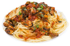 Portion of Spaghetti with Mussels (over white) Stock Photography