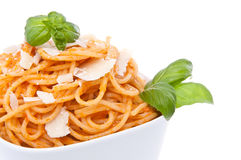 Portion of spaghetti with pesto rosso Royalty Free Stock Image