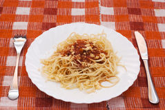 Portion of spaghetti with sauce Stock Photo