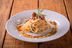 Portion of spaghetti with sauce and minced meat Royalty Free Stock Image