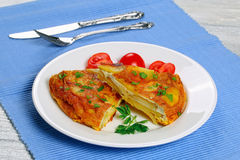 Portion of spain potato omelette tortilla Stock Images