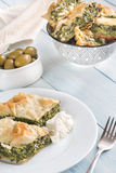 Portion of Spanakopita - Greek spinach pie Stock Images