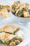 Portion of Spanakopita - Greek spinach pie Royalty Free Stock Photos