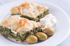 Portion of Spanakopita - Greek spinach pie Stock Photography