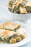 Portion of Spanakopita - Greek spinach pie Royalty Free Stock Photography
