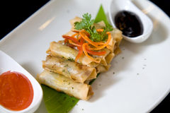 Portion of spring roll Royalty Free Stock Photography