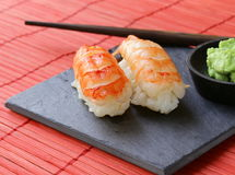 Portion of sushi with shrimp Royalty Free Stock Images
