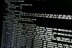 Portion of system log from a web server, during cyber attack. Fi Stock Photo
