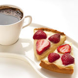 Portion tart with coffee cup Royalty Free Stock Photo