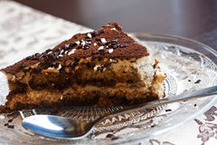 Portion of tiramisu on a plate Royalty Free Stock Images