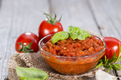 Portion of Tomato Sauce Stock Images