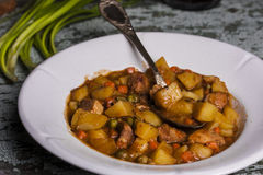 Portion of traditional irish beef, guinness beer stew with carrots and potato Stock Photography