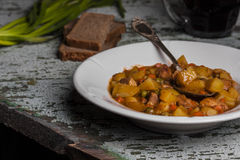Portion of traditional irish beef, guinness beer stew with carrots and potato Stock Image