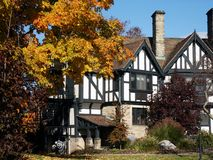 Portion of Tudor=style lodge. Old lodge at an Ohio state park in autumn royalty free stock image