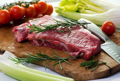 Portion of uncooked lean healthy beef steak Stock Photos