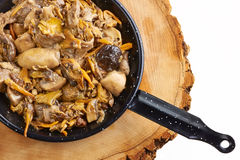 Portion of varied Mushrooms in a frying pan Stock Image