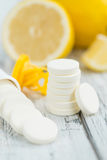 Portion of Vitamin C Tablets. Vitamin C Tablets close-up shot, selective focus Royalty Free Stock Image