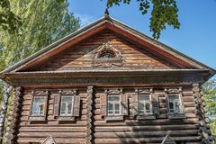 A portion of a window. Woodcarving. Russian village. Old wooden houses - monument of ancient wooden architecture Russia. Architectural-Ethnographic Museum stock images