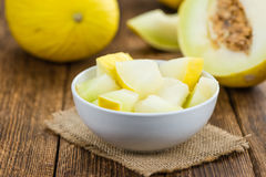 Portion of Yellow Honeydew Melon selective focus Stock Photo