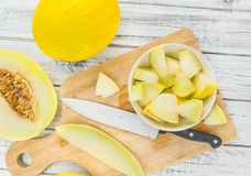 Portion of Yellow Honeydew Melon selective focus Royalty Free Stock Photos