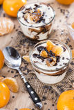 Portion of Yogurt with Tangerines and Chocolate Royalty Free Stock Image